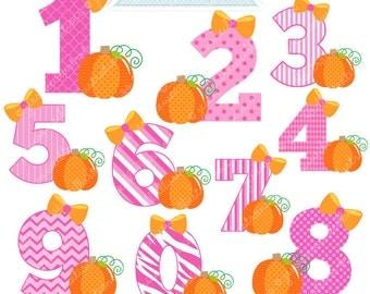 Pink Pumpkin Numbers Cute Digital Clipart - Commercial Use OK - Halloween Graphics, Halloween Clipart, Pumpkin Number Graphics