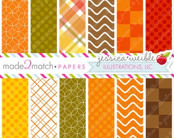 Gobblers Cute Digital Papers Backgrounds -Commercial Use Ok - Thanksgiving Digital Papers, Autumn Seasonal Backgrounds