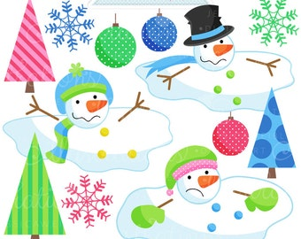 Melting Snowmen Cute Digital Christmas Clipart - Commercial Use OK - Christmas Graphics - Melted Snowman Clipart