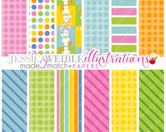 Hippity Hoppity Easter Cute Digital Papers - Commercial Use OK - Easter Digital Backgrounds, Easter Papers, Easter Patterns