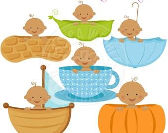 Boy Baby in A V2 - Dark Skin - Cute Digital Clipart for Card Design, Scrapbooking, and Web Design, Peapod Baby, Pumpkin Baby