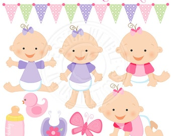 Baby Girl Cute Digital Clipart for Card Design, Scrapbooking, and Web Design