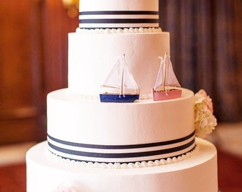 Wooden Sailboat Place Card Holder Navy Red Wedding Bridal Shower Engagement Party Favor Box