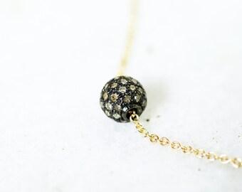 Pave Ball Minimaist Raw Diamond Necklace
