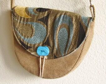 Unique small purse in chocolate brown, blue, aqua