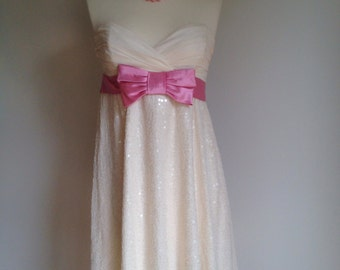 Vintage Betsey Johnson cream ivory strapless party dress sequins pink bow TIFFANY