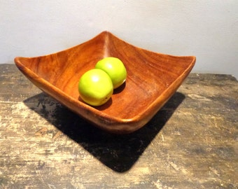 Vintage Mid Century Modern Wood Bowl Atomic Age Eames Square Wooden Bowls FREE Shipping Salad
