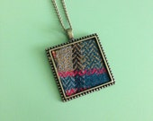 Plaid fabric necklace