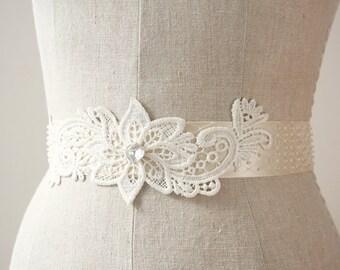 Ivory Lace Sash, Beaded Sash, Wedding Belt, Sample Sale