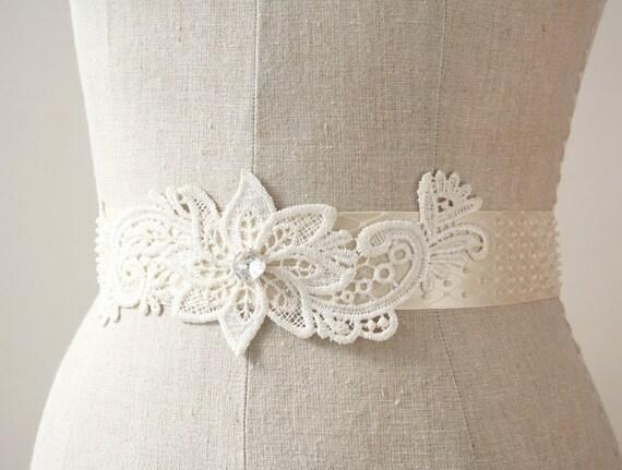 Ivory Lace Sash, Beaded Sash, Wedding Belt