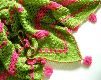 HALF OFF - Hand Crocheted Baby Blanket - Beautiful Springtime Colors