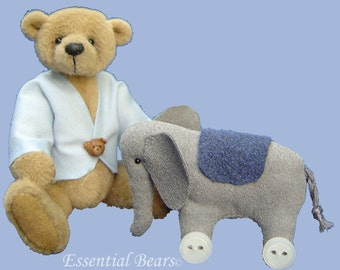 Luke Miniature Teddy Bear and  Elephant -  PDF pattern only