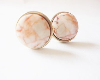 vintage pink marble cabs screw back earrings