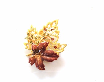 vintage gold tone and rhinestones maple leaves pin brooch nature inspired jewelry