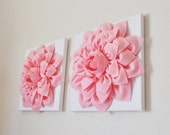 "Pink Nursery TWO Wall Flowers -Light Pink Dahlias on White and 12 x12"" Canvas Wall Art- Baby Nursery Wall Art"
