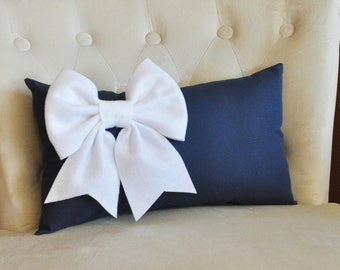 Decorative Lumbar Pillow White Bow on Navy Lumbar Pillow 9 x 16