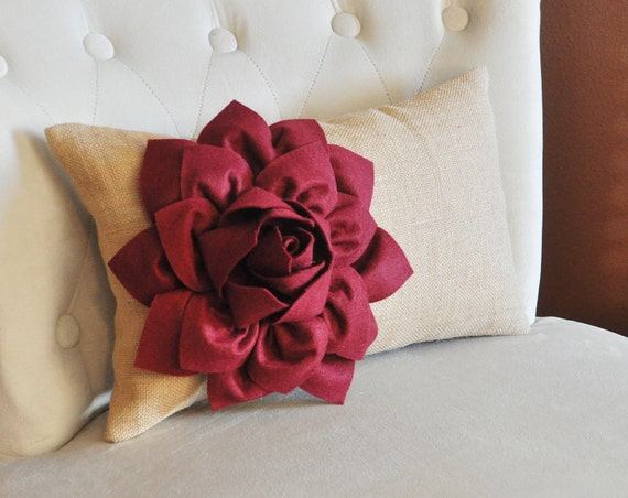 decorative lumbar pillow ruby red dahlia on burlap dining chair