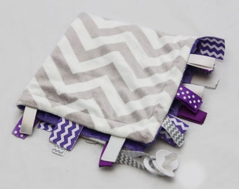 Baby Ribbon Tag Blanket - Minky Binky Blankie - Grey and White Chevron with Purple