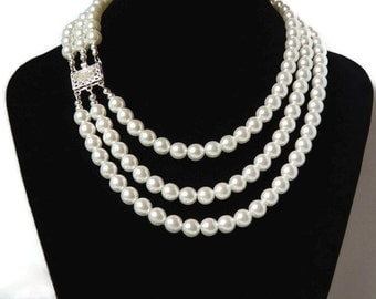 Triple Czech White Pearl Necklace Beaded Three Strand Bold Statement White Bridal Necklace Wedding Jewelry Mother of Bride Gift