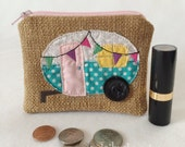 Small Aqua Dot and Pink Vintage Camper Travel Trailer Tan Zip Pouch with Button