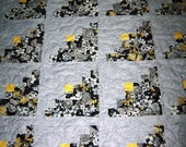 "Log Cabin Pattern-Handmade Quilt-Patchwork Quilt- 50"" X 60""-Made in USA by MJ Quilts-Free Shipping in United States"