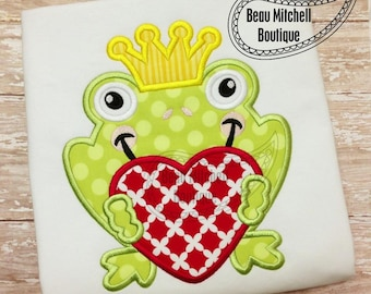 Frog Prince applique embroidery design