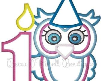 1st Birthday Owl embroidery design