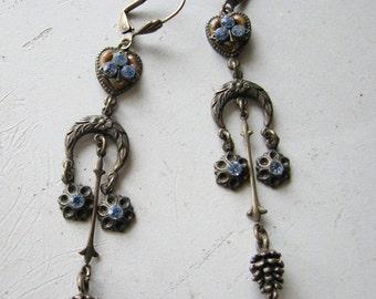 Chandelier earrings | dangle | blue rhinestone | vintage statement | crescent moon | brass