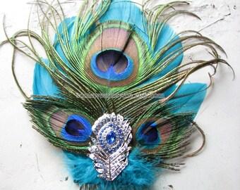 Crystal hair comb | silver fascinator | blue | wedding