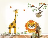 Jungle Wall Decal - Safari Giraffe Lion and Monkey Wall Decals - Adorable Nursery Wall Decals For All Ages