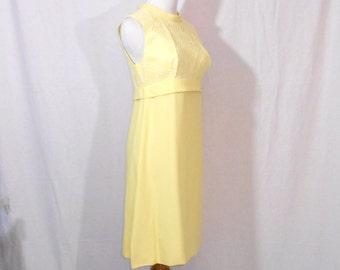 Yellow Chiffon Empire Waist Dress and Matching Jacket 2 Piece Set 70's Mod Dress Women's Suit Womens Vintage Clothing