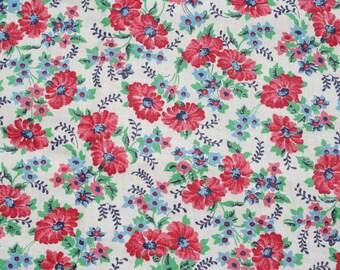 Vintage Floral Fabric Red Blue Flowers 2 Yards Darling!