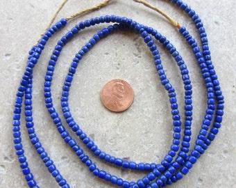 Blue Ghana Glass Beads -2 Strands
