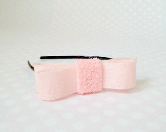 Pale Pink Felted Bow Headband