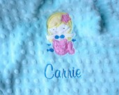 Personalized baby blanket- mermaid turquoise blue and hot pink-lovey blanket