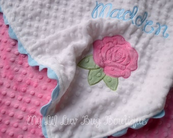 personalized minky blanket- white baby blue and hot pink rose- baby stroller blanket