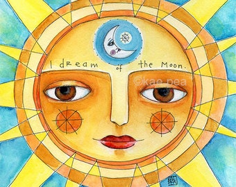 i dream of the moon. 8 x 8 print from my original painting