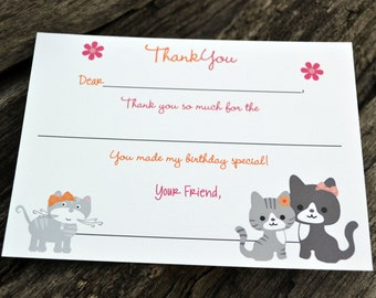 Kids Fill In the Blank Thank You Notes / Kids Thank You Notes / Childrens Kitty Cat Thank You Note Cards / Fill In The Blank Kitty Cat Notes