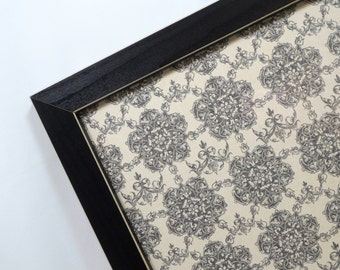 Magnet Board - Dry Erase Board - Wall Decor - Housewares - Magnetic Memo Board - Framed - Black and Cream Damask Design - Magnets Included