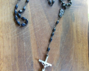 Vintage Black Wood and Silver Toned Rosary Prayer Beads