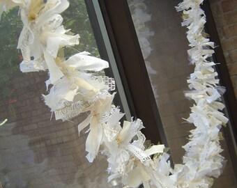 6 Foot Christmas Garland - Torn Rag Strips - White, Cream, Gold - Shabby Elegant Decor