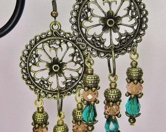GYPSY COWGIRL CHANDELIER Dangle Drop Brass Turquoise Glass Earrings - GyPsY SouL