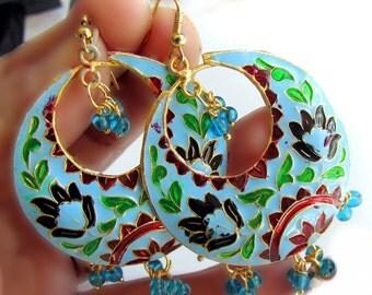 Turquoise Earrings,Enamel Earrings,Chand Bali, Lotus Earrings Dangle Chandelier Black,Green & Gold Earrings by Taneesi