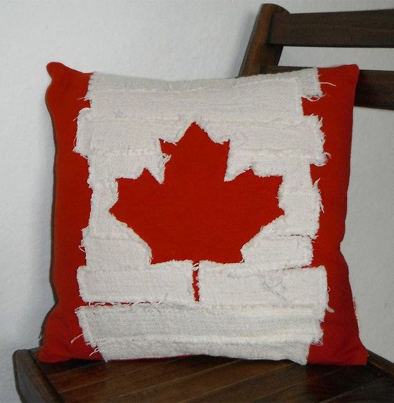Canadian Inspired Home Decor Canada Pillow Via Etsy: Canadian Flag Pillow Cover Ripped Distressed Raggy By BukiBuki