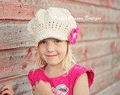 Ivory Girl's Hats, Slouchy Newsboy Hat, Crochet Hat for Girls, Crochet Slouch Hat in Off White with Hot Pink Flower, 5T to Preteen