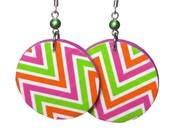 Colorful Chevron Neon Statement Earrings, Lightweight Summer Jewelry