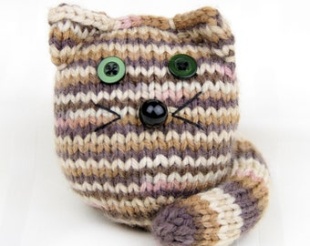 Hand-knitted Soft Kitten, stuffed toy cat in brown and ginger stripes, knit toy
