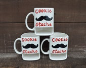 Dad's Cookie Stache - Ceramic Cookies and Milk Dunk Mug - Red Text - Ready to Ship