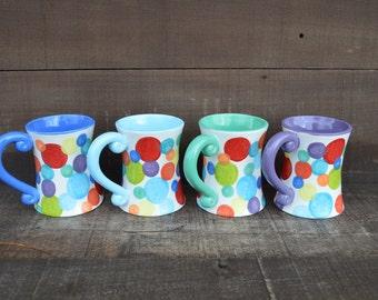 Colorful Dots Funky Ceramic Rainbow Coffee Mug - 12 oz. - OOAK Hand Painted Mug - Sale