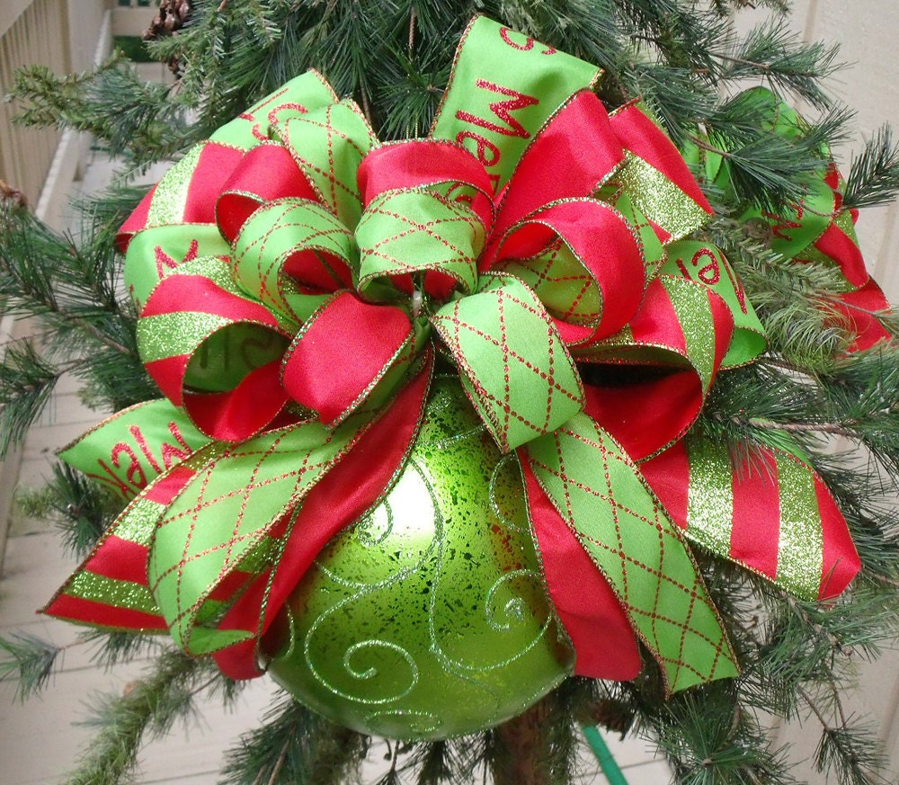 Red and lime christmas ornaments bow ornament tree for Large christmas decorations